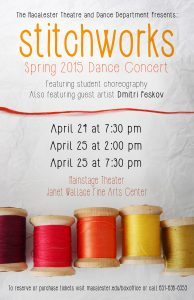 The Macalester College Theatre and Dance Department presents Stitchworks, the Spring 2015 Dance Concert