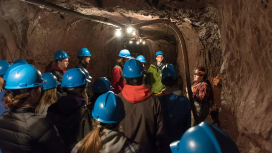Geology students visit a mine.
