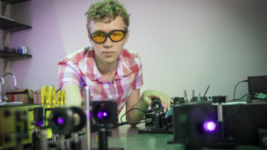 Connor Thompson in the laser lab