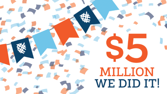 Graphic that says: $5 Million - We Did It!