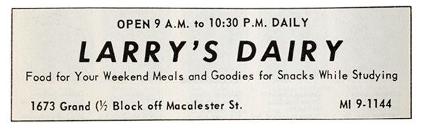 Photo of an ad for Larry's Dairy